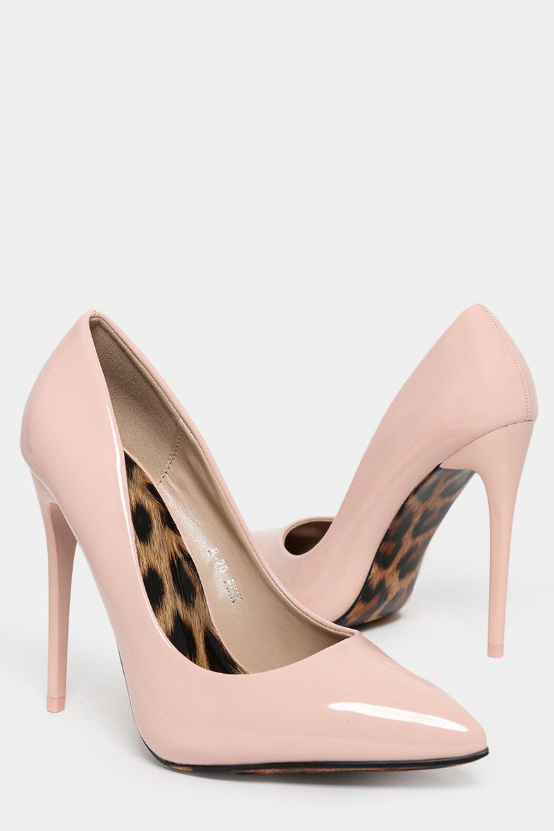 Patent Pink Stiletto Heels With Leopard Sole - SinglePrice