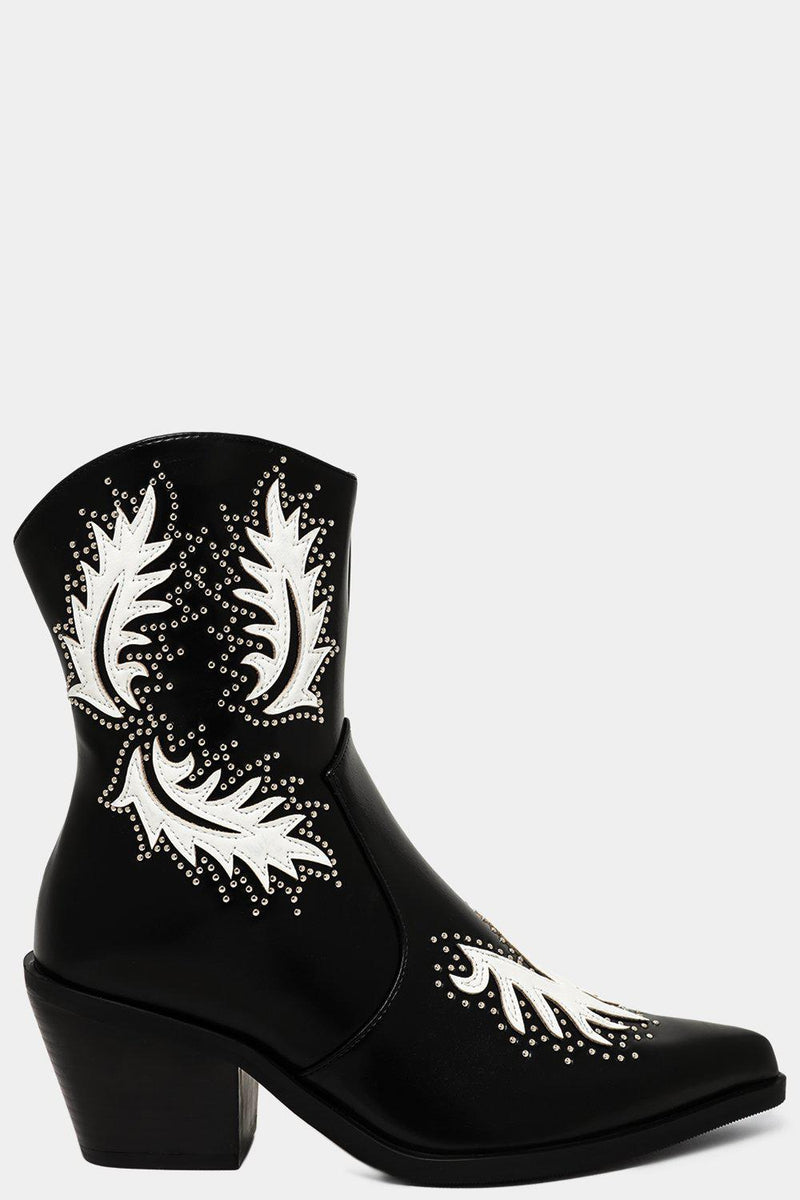 Black Studded Embroidered Motive Cowboy Boots - SinglePrice
