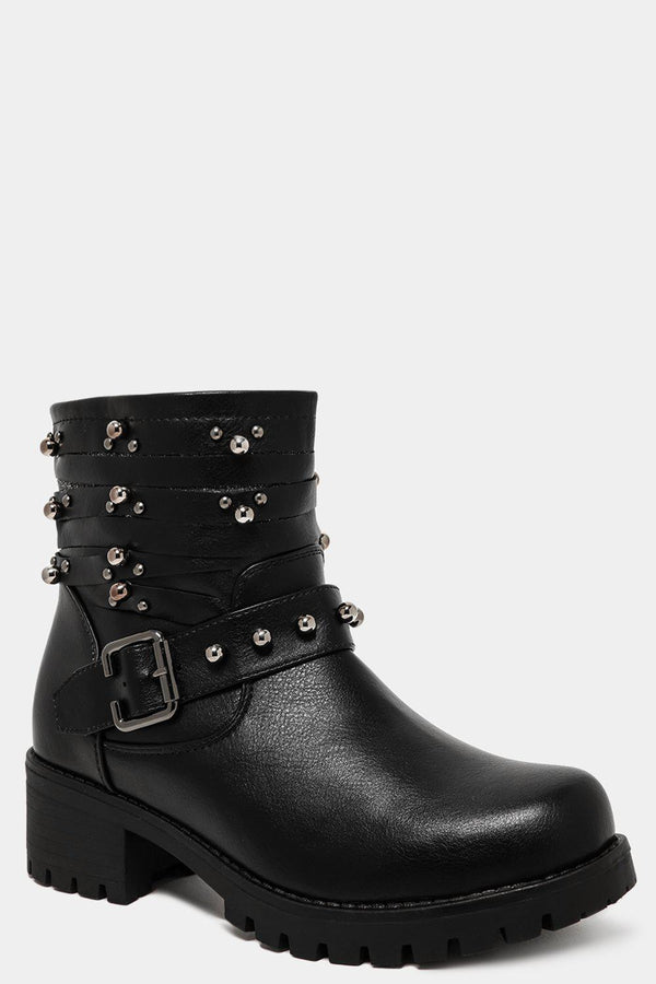 Black Multiple Studded Straps Ankle Boots - SinglePrice