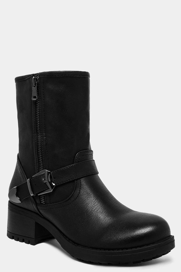 Black Side Buckle And Belt Detail Ankle Boots - SinglePrice