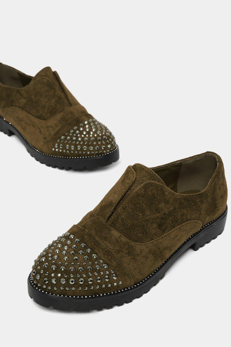 Green Encrusted Toe faux Suede Flat Shoes - SinglePrice