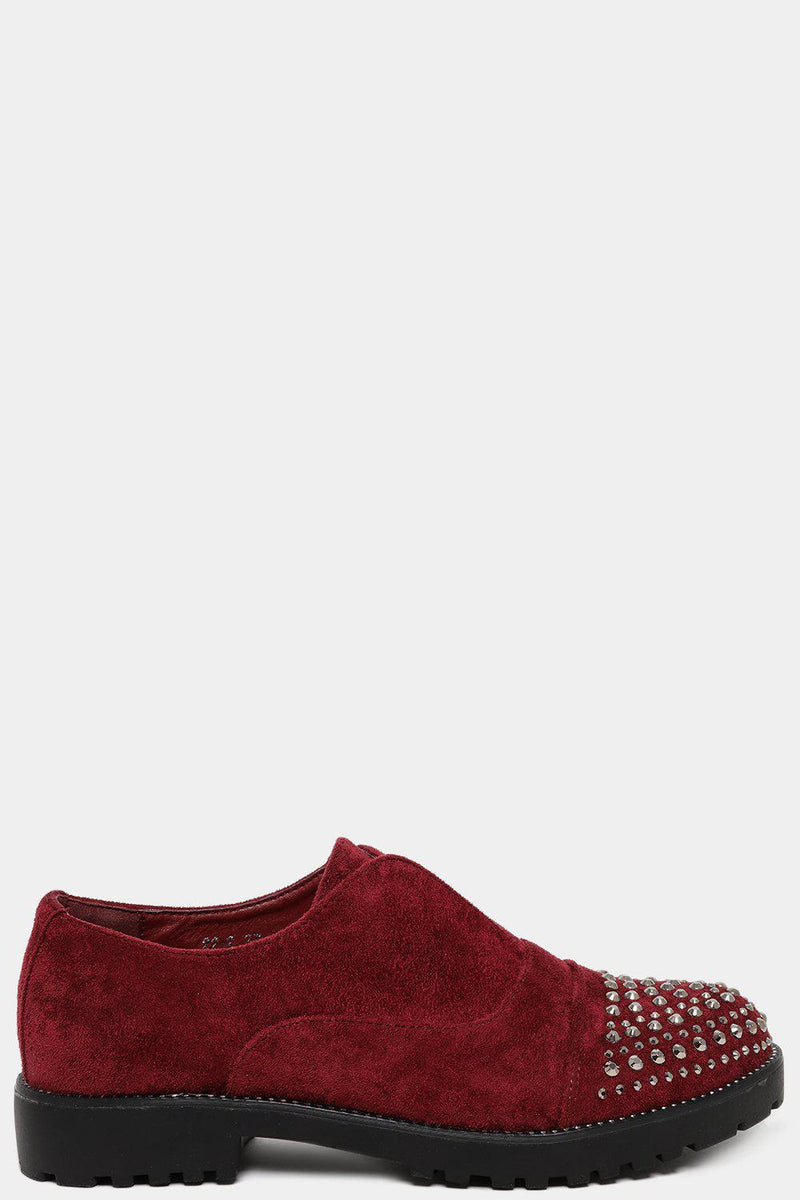 Red Encrusted Toe faux Suede Flat Shoes - SinglePrice