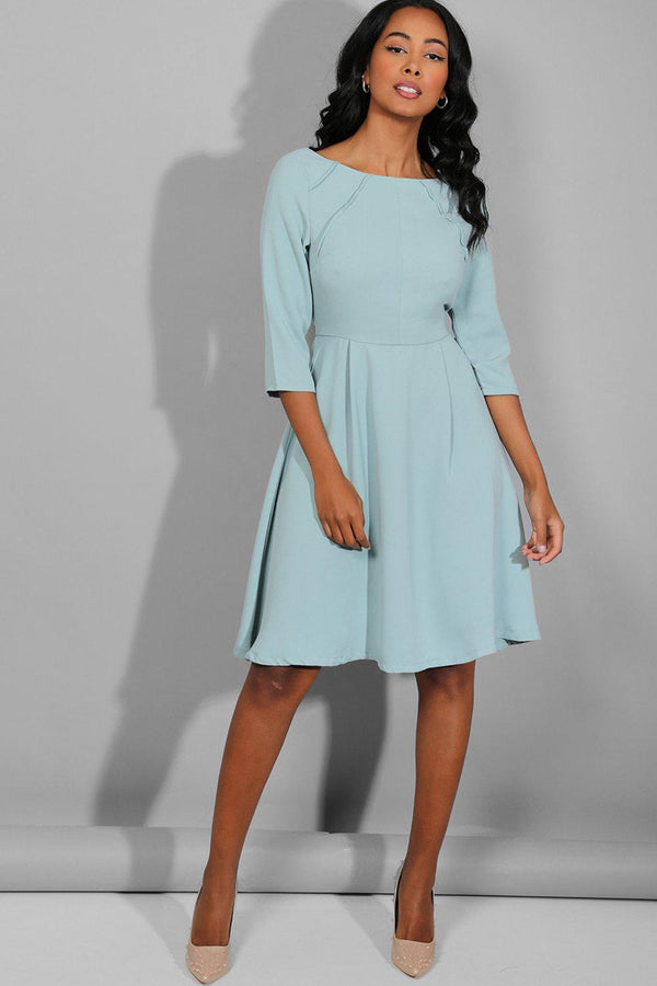 Aqua Blue Seam Detail Boat Neck Midi Dress - SinglePrice