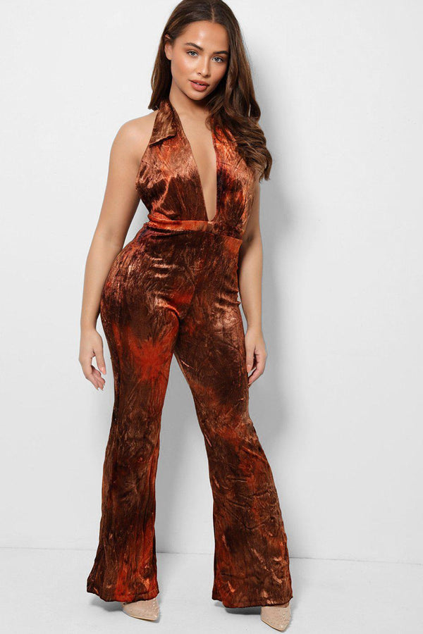 Orange Bronze Plunge Halterneck Open Back Velvet Jumpsuit - SinglePrice