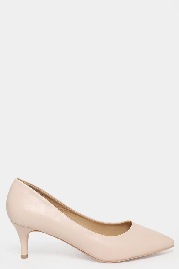 Vegan Leather Beige Slip On Kitten Heels - SinglePrice