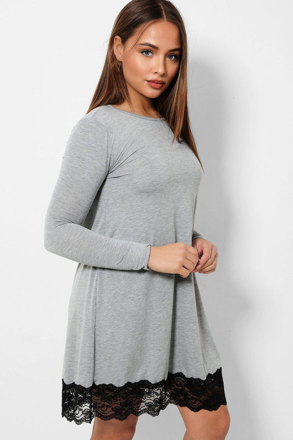 Black Lace Trim Grey Tunic Dress