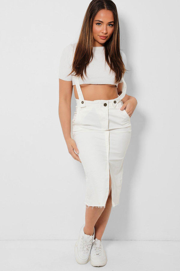 White Raw Hem Denim Pinafore Midi Skirt - SinglePrice