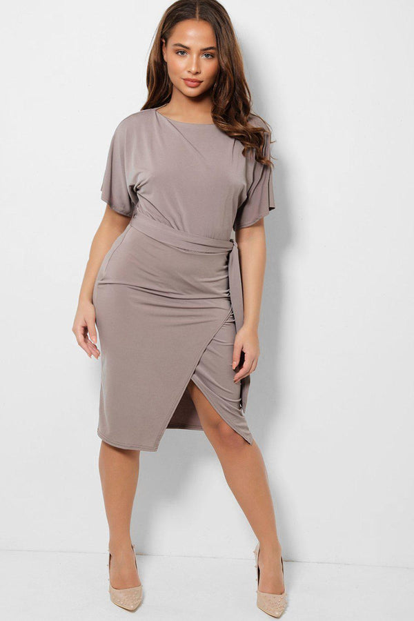 Taupe Boat Neck Belted Slinky Wrap Dress-SinglePrice