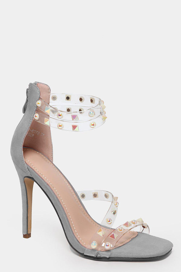 Unicorn Spikes Embellished Grey Barely There Heels - SinglePrice