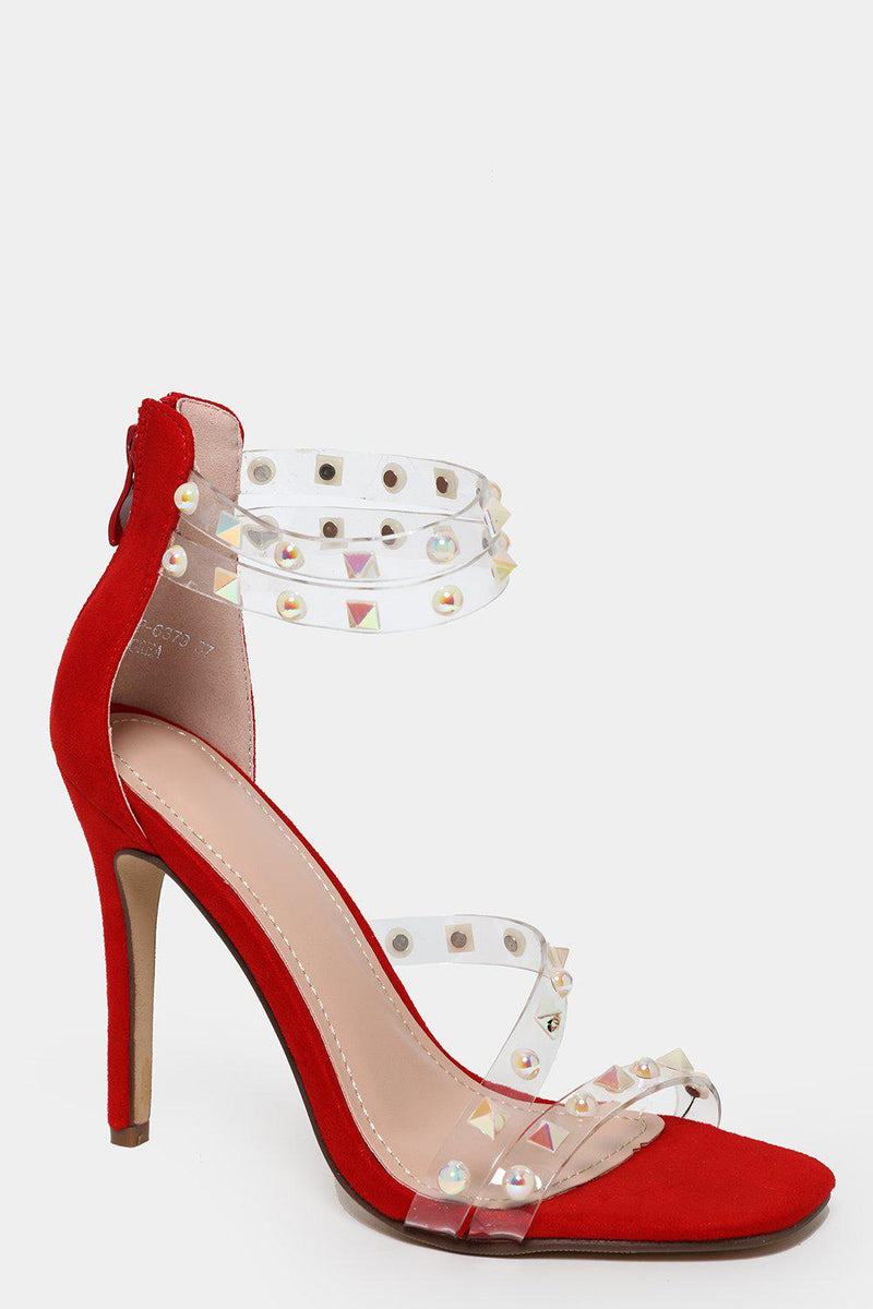 Unicorn Spikes Embellished Red Barely There Heels - SinglePrice