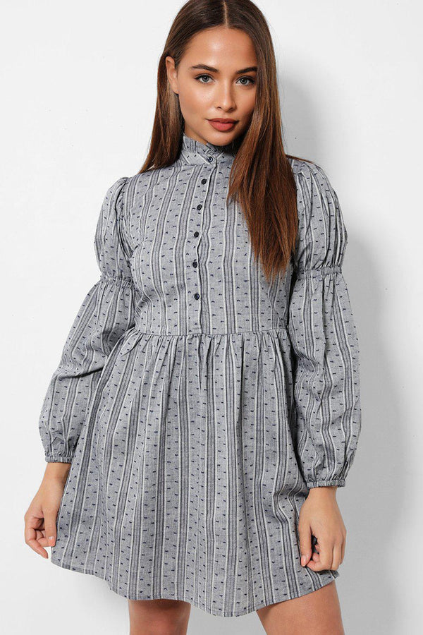 Balloon Sleeves High Neck Buttoned Down Grey Dress
