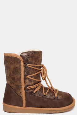 Bronze Faux Fur Lined Laced-Up Aged Vegan Leather Warm Boots - SinglePrice