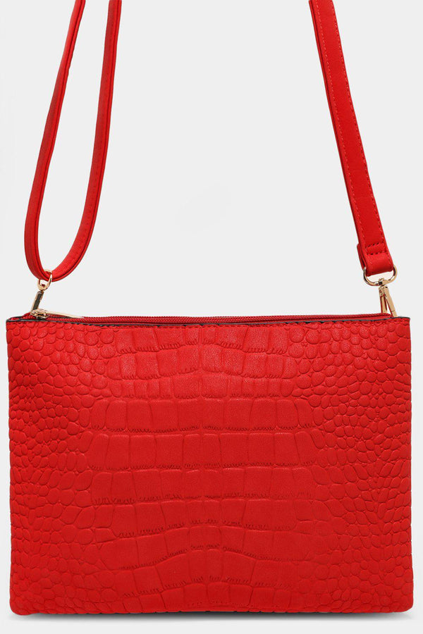 Red Matte Mock Croc Twin Compartment Shoulder Bag - SinglePrice