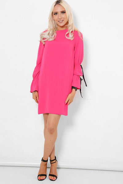 Tie Up Sleeves Pink Shift Dress-SinglePrice