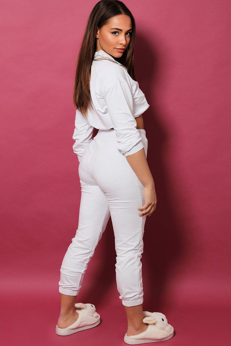 White High Neck Drawstring Top 2 Piece Tracksuit - SinglePrice