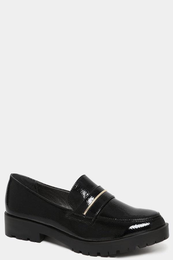 Black Patent Vegan Leather Heeled Loafers-SinglePrice