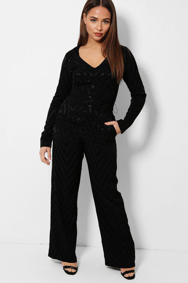 Black Shimmer Zig Zag V-neck Smart Jumpsuit - SinglePrice