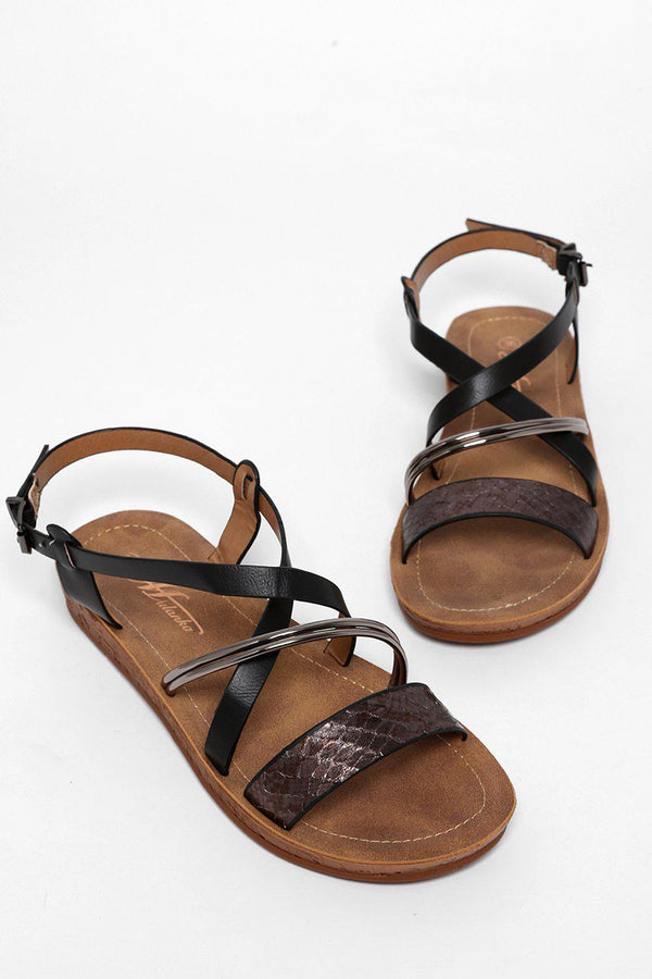 Snake Skin And Metallic Strap Black Flat Sandals-SinglePrice