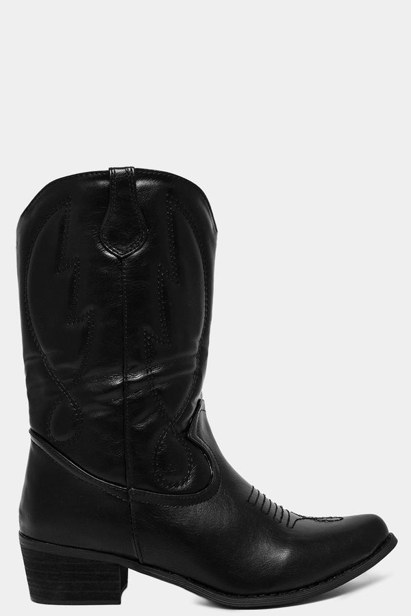 Black Wings Embroidery Motif Vegan Leather Boots - SinglePrice