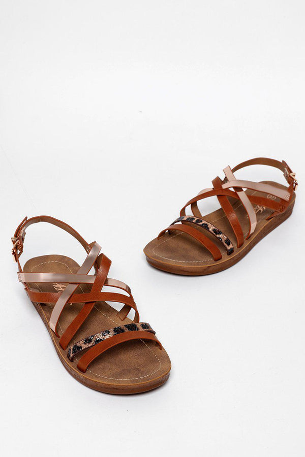 Crossed Straps Camel Gladiator Sandals-SinglePrice
