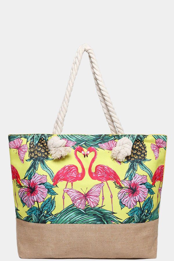 Flamingo and Pineapple Print Yellow Jute Beach Bag-SinglePrice