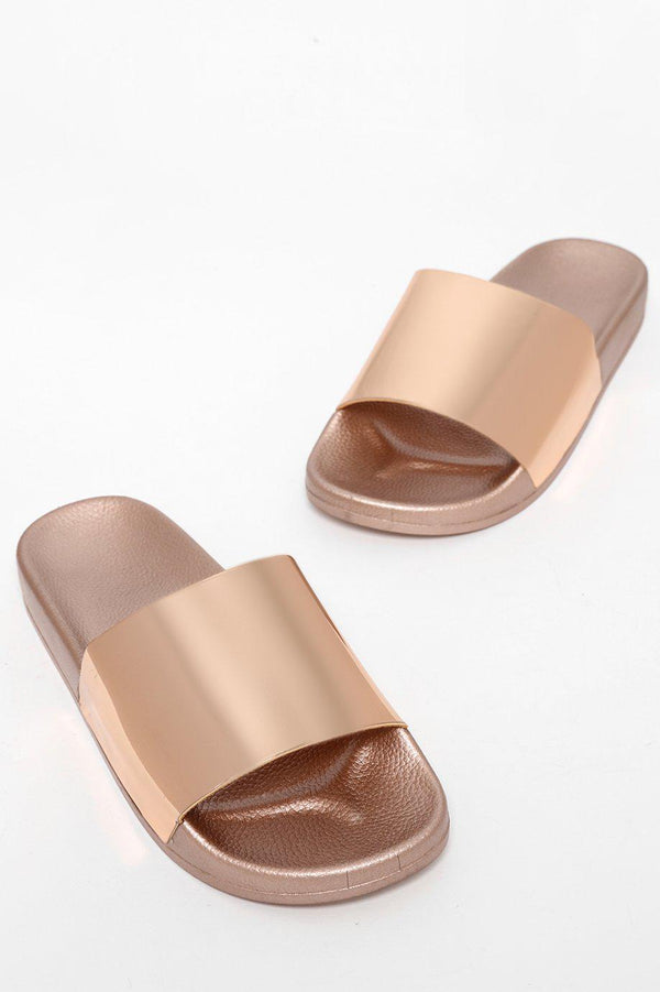Rose Gold Mirror Reflection Sliders-SinglePrice