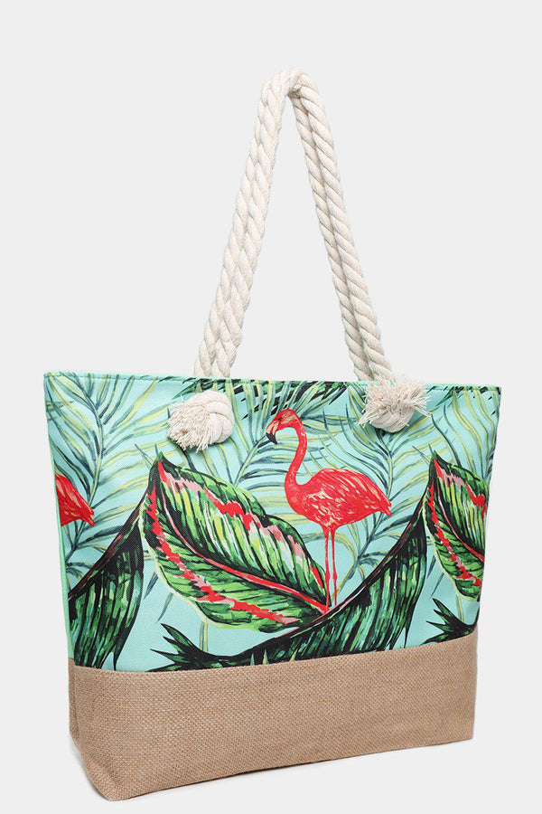Flamingo Print Light Green Jute Beach Bag-SinglePrice