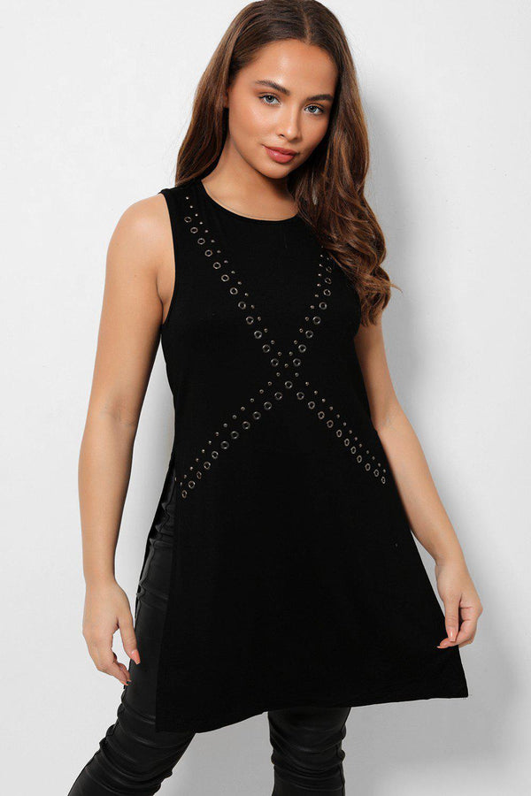 Black Eyelet Details Side Splits Sleeveless Top-SinglePrice