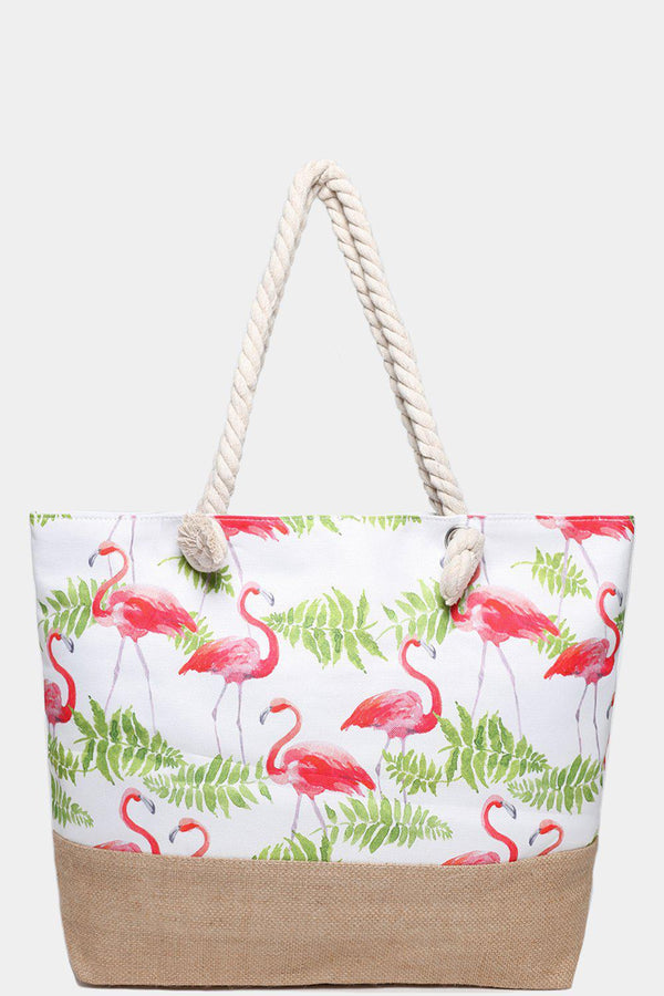 Flamingo Tropical Print Jute Beach Bag-SinglePrice