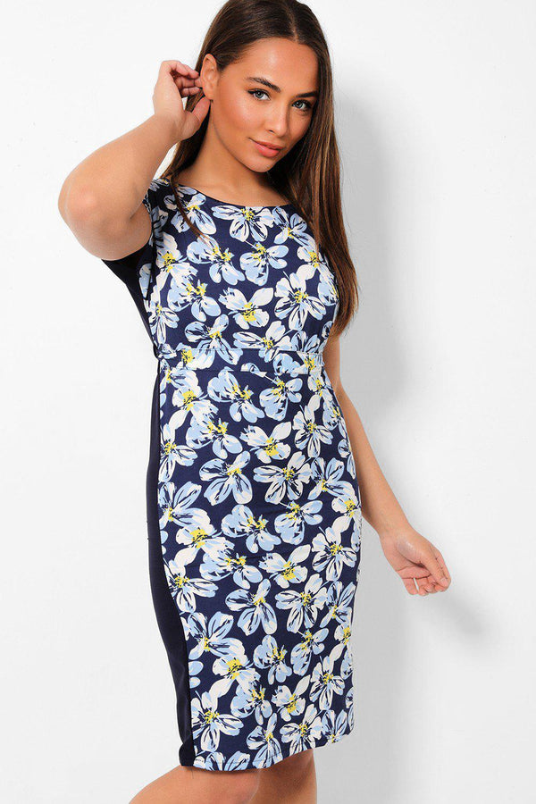 Navy Floral Front Belted Bodycon Dress - SinglePrice
