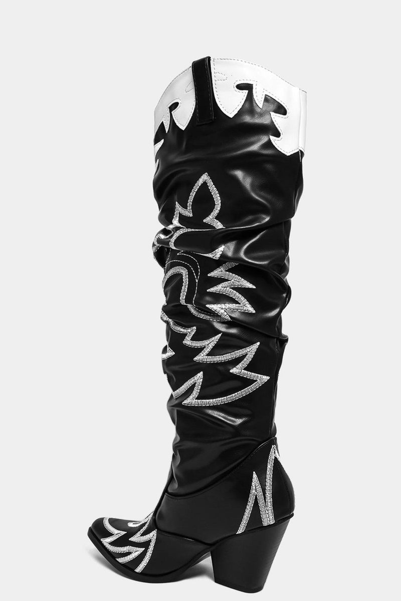 Black Wings Motif Ruched Knee High Cowboys Boots - SinglePrice