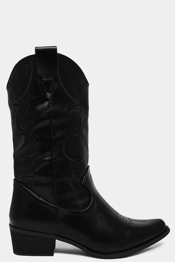 Black Embroidery Motif Curved Top Boots - SinglePrice