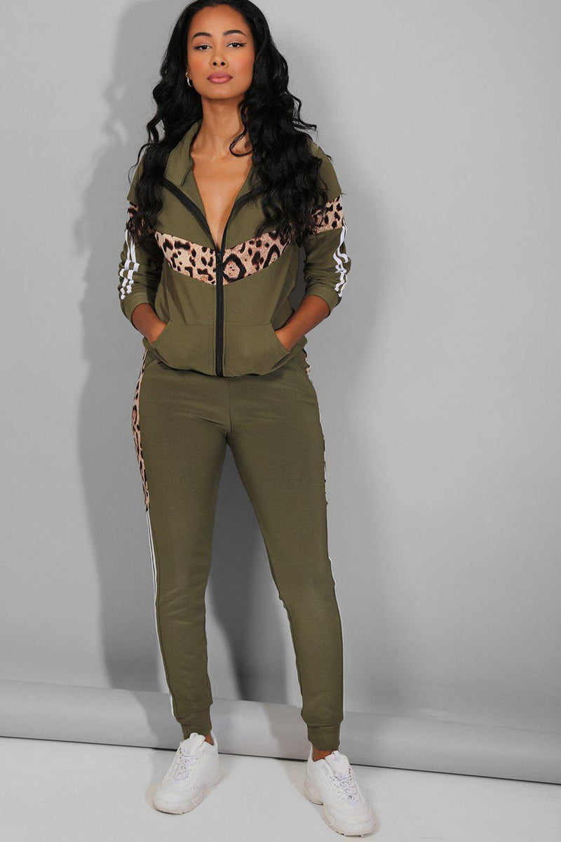 Leopard And Twin Stripe Detail Khaki Tracksuit - SinglePrice