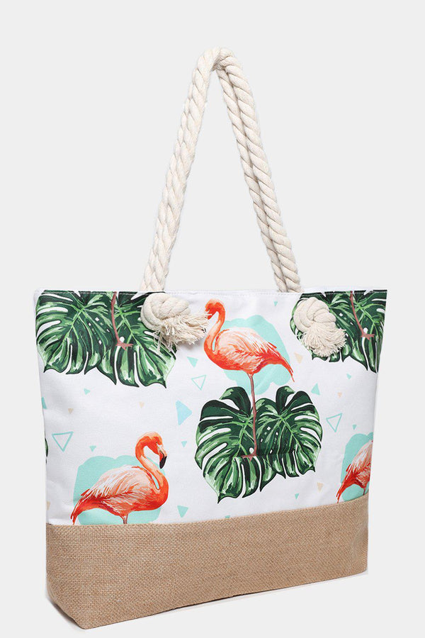 Tropical Flamingos Print Jute Beach Bag-SinglePrice