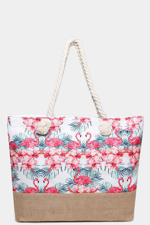 Tropical Flamingos Printed Jute Beach Bag-SinglePrice