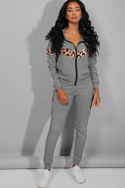 Leopard And Twin Stripe Detail Grey Tracksuit - SinglePrice