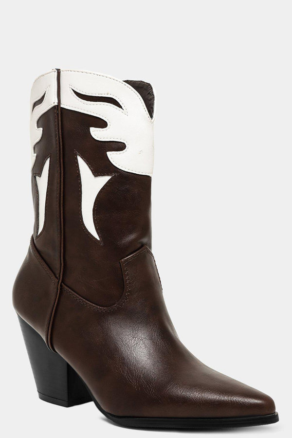 Brown White Wings Motive Cowboy Boots - SinglePrice