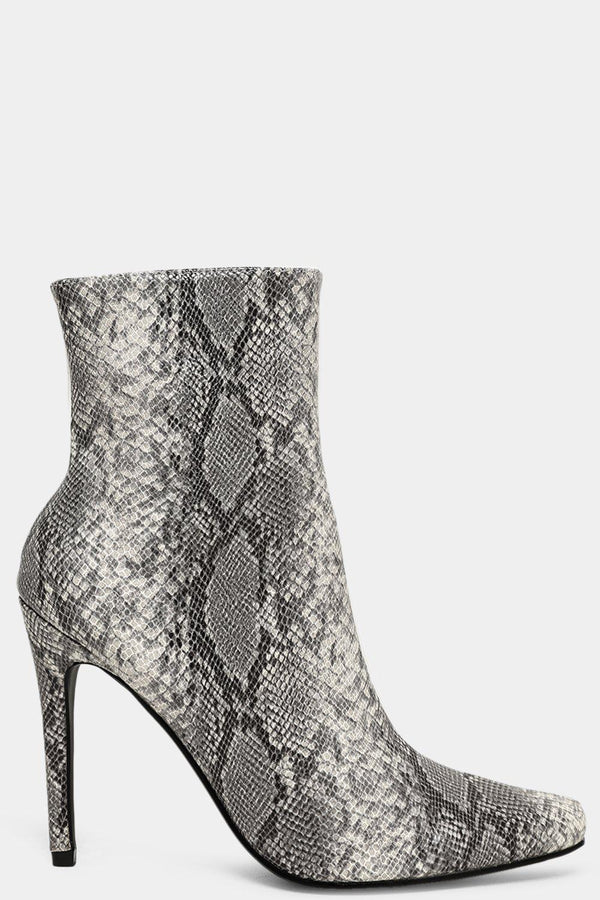 Python Print White Two Sides Square Toe Heeled Boots - SinglePrice