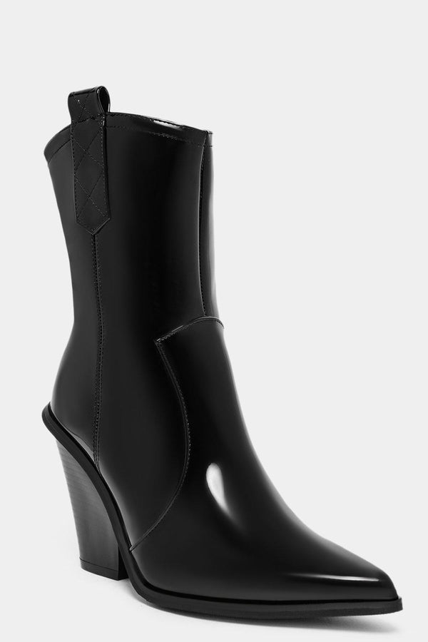 Black Patent Vegan Leather Cowboy Boots - SinglePrice