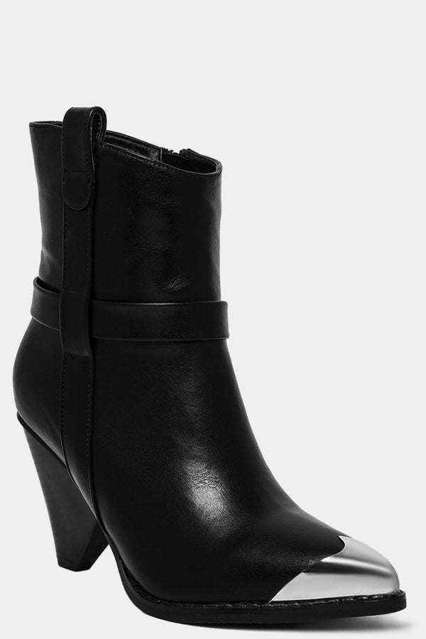 Black Vegan Leather Metal Toe Cup Ankle Boots - SinglePrice