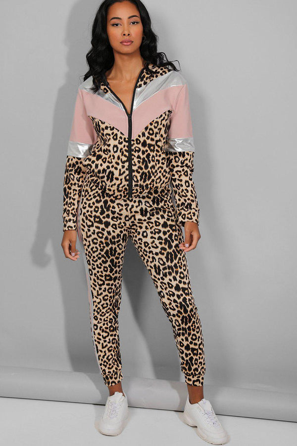 Pink Silver Panels Leopard Print Tracksuit - SinglePrice