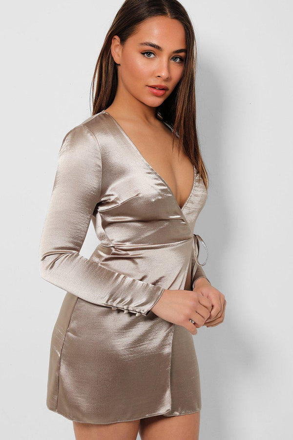Mink Satin Plunge Wrap Mini Dress - SinglePrice