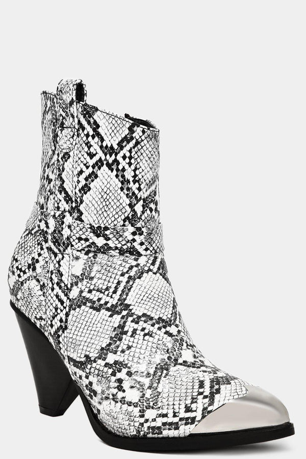 White Snake Print Vegan Leather Metal Toe Cup Ankle Boots - SinglePrice