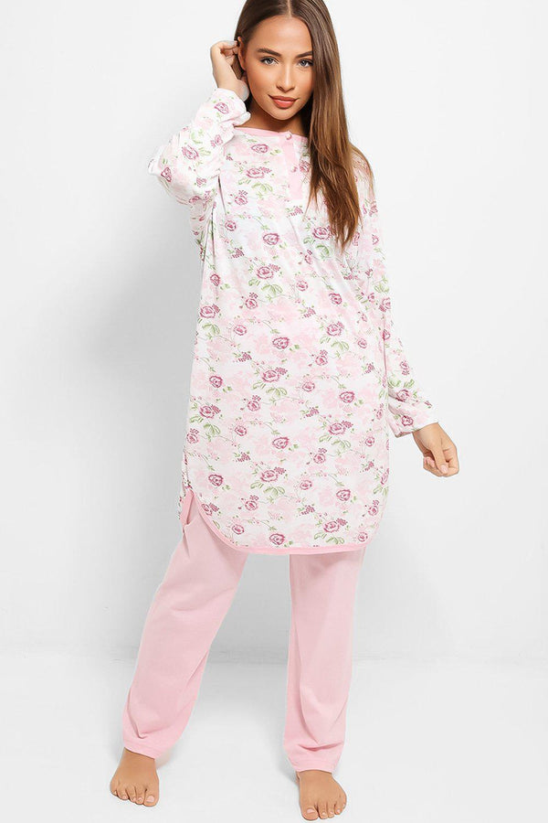 Pink Roses Print Tunic And Trousers Pyjama Set - SinglePrice