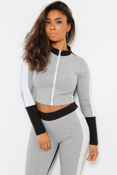White Stripe Tape Grey Sports Crop Top