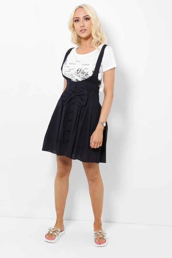 Navy Bow Front Pinafore Skirt-SinglePrice