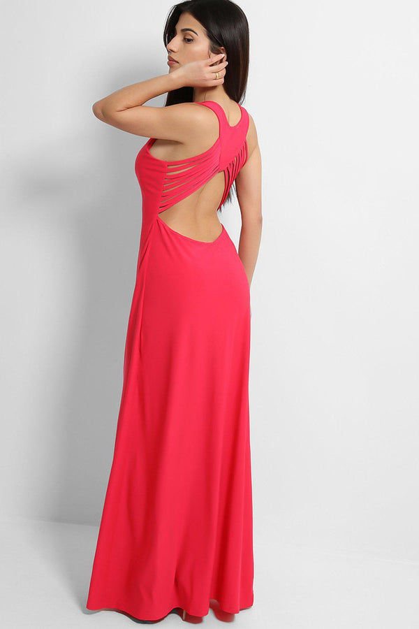 Fuchsia Crossover Cut Out Back Slinky Maxi Dress - SinglePrice