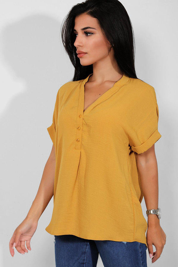 Mustard Rolled Short Sleeves Lazy Fit Shirt - SinglePrice