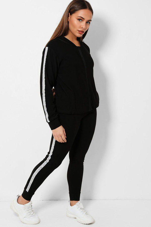 Disco Ball Sequins Stripe Black 2 Piece Tracksuit - SinglePrice