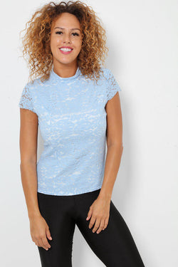 Light Blue Lace Overlay High Neck Top - SinglePrice